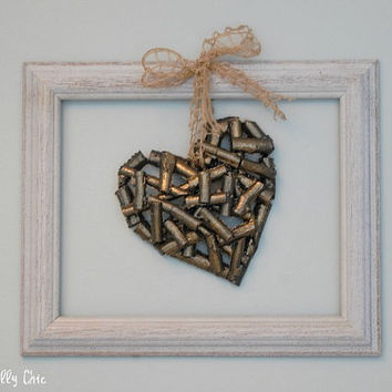 Not So Shabby Chic Wall Decor, Wood Grey and Gold Heart with White Frame Wall Art, Romantic Wall Decor, Girls Room