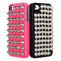 Fashion Shiny Full Rivet Handmade Hard Case For Iphone 4/4s-pink
