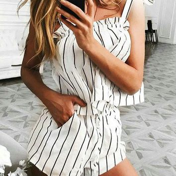 Streetstyle  Casual Instant Vacation Sexy Haltel Striped Romper