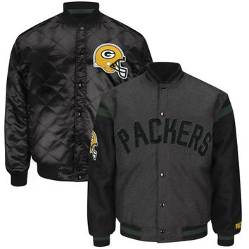 Green Bay Packers Blue Line Reversible Wool Jacket – Charcoal/Black