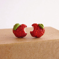 Red apple Stud Earrings, Sparkle Bitten Apple, Snow White inspired- Made To order