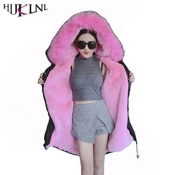 HIJKLNL 2017 Winter Luxurious Extra Large Fox Fur Coat Women Long Thick Hooded Long Jacket Snonwear Overcoat Parka Padded NA240