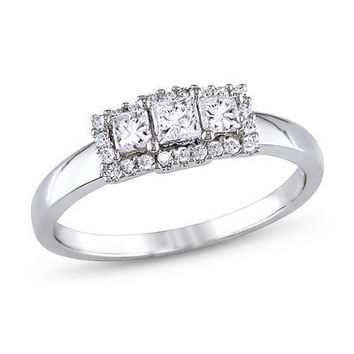 1/2 CT. T.W. Princess-Cut Diamond Three Stone Frame Engagement Ring in 14K White Gold - Clearance - Zales