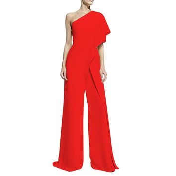 Women's Ruffled One-Shoulder Asymmetrical High Waist Wide Leg Jumpsuit