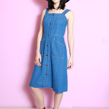 Vintage 1970's Button Front Denim Dress