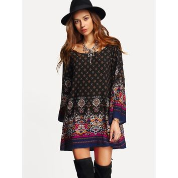 Multicolor Scoop Neck Bell Sleeve Geo Print Shift Dress