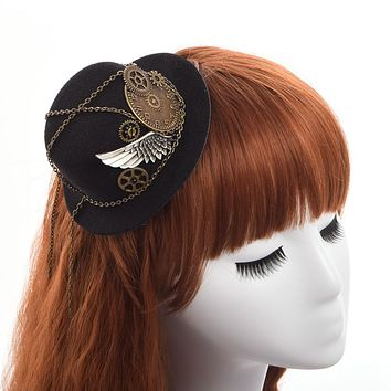 Retro Victorian Steampunk Gears Wing Mini Top Hat