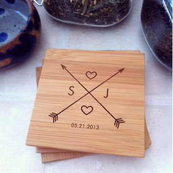 Crossing Arrows Personalized Bamboo Coaster Set w/ Engraved Initials, Custom Wedding, Anniversary, Hostess Gift, Engagement Present