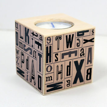 Wood Tealight Holder, Alphabet Tea Light, Letterpress Block, Vintage Typeset Style, Home Office Decor, Graduation Gift, Writer's Gift