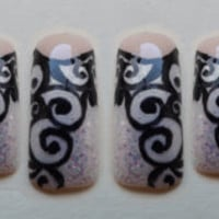 Bold Black and Iridescent French Manicure False Nail Set w/out Glue