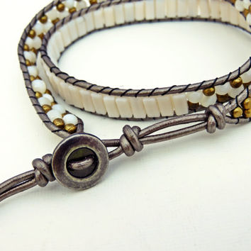 White and Bronze Beaded Wrap Bracelet