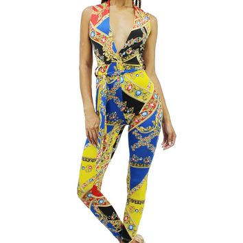 Baroque Jewelries Plunging V-Neck Sleeveless Skinny Catsuit Jumpsuit