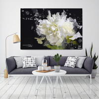 """Blow Away on The Wind 5-2. Floral Painting, White Abstract Art, Abstract Colorful Contemporary Canvas Art Print up to 72"""" by Irena Orlov"""