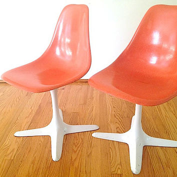 Mid Century Modern Orange Chair Furniture, Mid Century Modern Decor, Armless Chair, Back to School Chairs, Fiberglass Chair Burke Base,