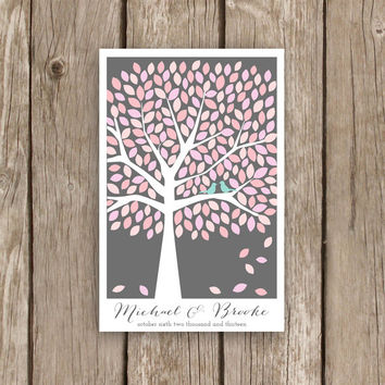 Guest Book Tree - Modern Guestbook for 200 Guests - Wedding Guest Book Tree Poster in Pink and Grey