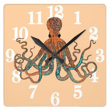 Octopus Square Clock In Aqua & Orange