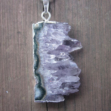 Huge Raw Amethyst Stone, Amethyst, Necklace, Druzy Necklace, Druzy, Stone Necklace, Raw Stone, Druzy, Drusy, Gemstone, Pendant, Gift for Her