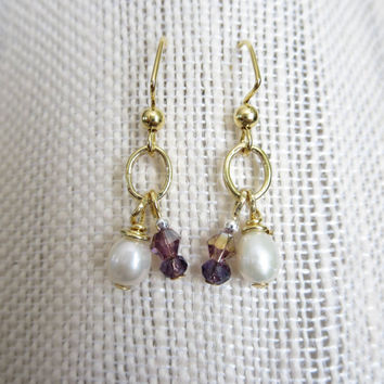 Earrings Fresh Water Pearl Faceted Purple Beaded Gold Dangle Pierced Earrings Women Evening Elegant Boho Bohemian Casual Jewelry