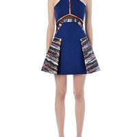 Abstract Print Sleeveless Mini Dress with Mesh Accent