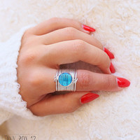 Big Bold Statement Ring - Stone Ring - Turquoise Ring - Cocktail Ring - Big Ring - Oversized Ring - Unique Ring - Turquoise Jewelry -