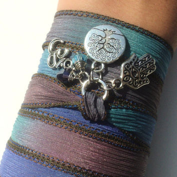 Hamsa Om Tree of Life Silk Wrap Bracelet Yoga Jewelry Hand Dyed Silk Namaste Evil Eye Anklet Necklace Earthy Gift Under 50 Item S67