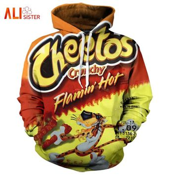 Flamin Hot Cheetos 3D Hoodie Letter Print Hoody Unisex Long Sleeve PulloVer Casual All Over Printed Tracksuit Hooded Sweatshirts