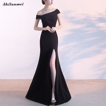 Sexy Off The Shoulder Mermaid Wedding Party Dress Backless Side Slit Red Black Floor Length Evening Maxi Dress Vestidos Mujer