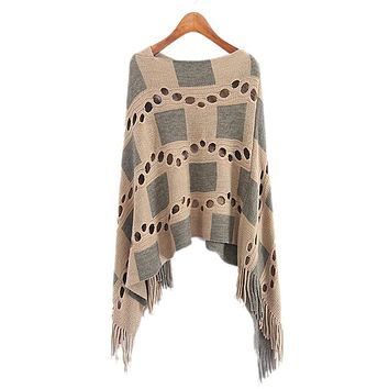 Autumn Women V Neck Batwing Plaid Fringed Stitching Irregular Tops Poncho Shawl Cape Hollow Sweater Blusas Femininas Clothes