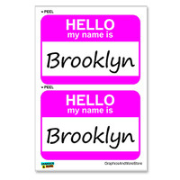 Brooklyn Hello My Name Is - Sheet of 2 Stickers