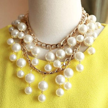 Multi-Layered White Faux Pearl Beads Necklace