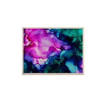 """Claire Day """"Nebula"""" Teal Multicolor Abstract Painting KESS Naturals Canvas (Frame not Included)"""