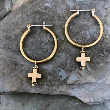 Gold Brass Cross Hoop Earrings