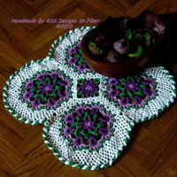 Purple Flowers Doily - Celtic Woven Crochet Doily - Irish Crochet Flowers Doily - Purple Flowers Design - Purple Flower Decor - Celtic
