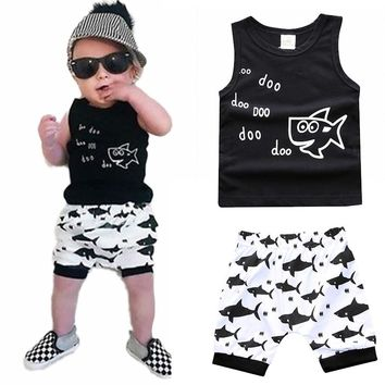 Toddler Clothing Baby Boy Clothes Little Shark Print Black Vest+Shorts 2 pcs Baby Boy Clothing Set Summer Baby Boy Costume
