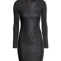 H&M - Snakeskin-print Dress - Black - Ladies