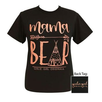 Girlie Girl Originals Mama Bear Teepee Black Tee Tee