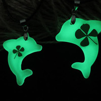 clover glowing couple necklace,His and Her dolphins Necklaces, dolphins Necklace Pendant, Matching couple necklace