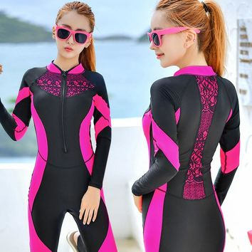 BANFEI Wetsuits Long Sleeve Wetsuit For Women Swimwear One Piece Wet Suit For Swimming Surfing Suit Womens Swimsuits Rash Guard