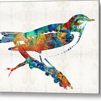 Colorful Bird Art - Sweet Song - By Sharon Cummings Metal Print