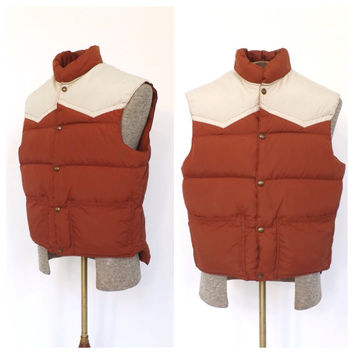 Reversible Vintage Mens 1970s 80s Goose Down Vest Mens Burnt Orange Puffer Vest Winter Fall Vest Hunting Ski Vest Quilted Puffy Vest Rustic