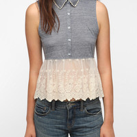 Urban Outfitters - Pins And Needles Denim & Lace Tank Top