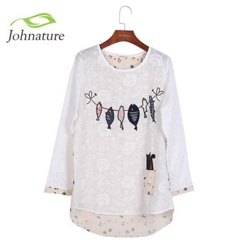 Embroidery Shirts Long Sleeve O-neck Cartoon Print Cotton Loose Japanese Mori Girl 2016 Autumn Women Fish Cat Cute Top Blouse