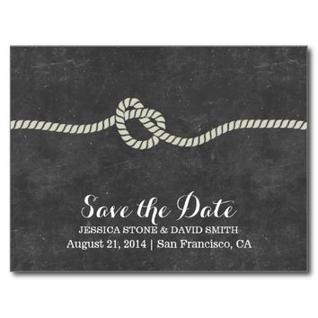 Simple Twine Knot Chalkboard Save the Date