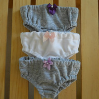 18 inch Doll Clothes fits American Girl Panties Gray/white combo
