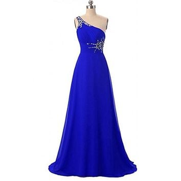 SoAyle Real Picture Vestidos de festa One Shoulder Prom Dresses Chiffon 2017 Party Long Dress Simple 16 Prom Gowns