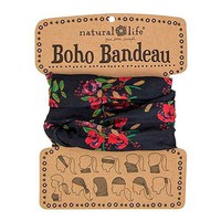 Women's Boho Bandeau Blooms Pattern, Black, One Size