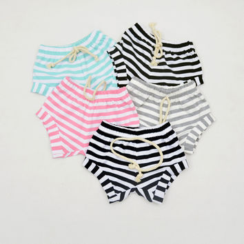 2016 New Baby Kids Girls Boys Short Harem Pants Summer Infant Full Cotton Striped Pattern Pants For Baby Shorts Trousers