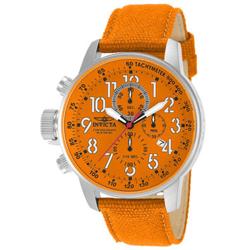 Invicta 11526 Men's I Force Lefty Orange Dial Orange Canvas and Leather Strap Chronograph Stainless Steel Watch