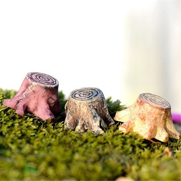 2pcs/lot Crafts Decorations Miniature Multicolour Tree Stump Fairy Terrarium Christmas Xmas Party Garden Gift