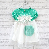 Baby summer fashion new baby girl ball gown dress lace cotton material 3 colors age 0-2 girls dresses SV002415 Vestidos